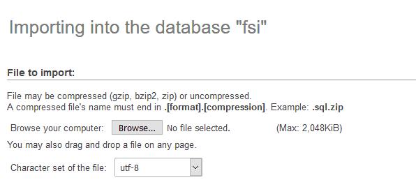 Import DB via phpMyAdmin