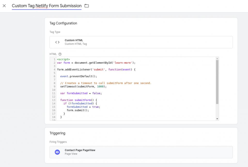 Custom GTM tag - Netlify form submission