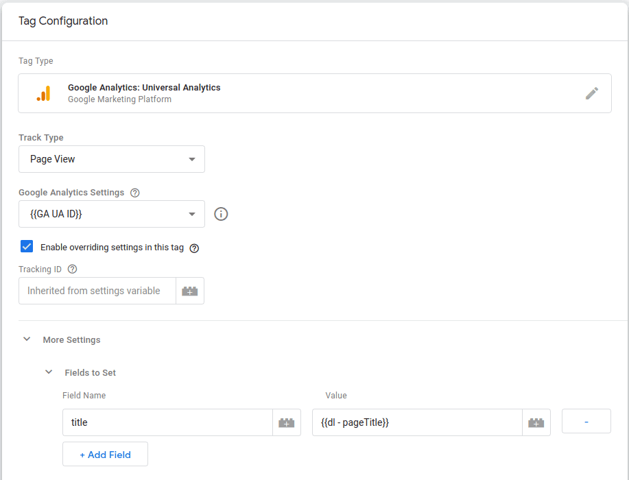 Send the page title as a custom field to GA